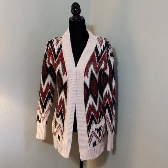 Mossimo Supply open cardigan sweater red green